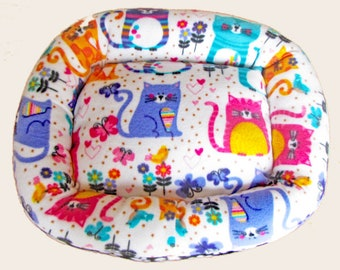 Small, Rainbow Cats, Dog bed, Washable pet bed, Cat bed, oval pet bed, Puppy bedding, Kitten bed, Kennel bedding, Plush Fleece pet bed