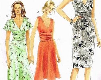 Size 6-10 Misses' Dress Sewing Pattern - Deep V Neck Dress Pattern - Sleeveless Summer Dress - Flare Skirt Dress - Vogue 7521