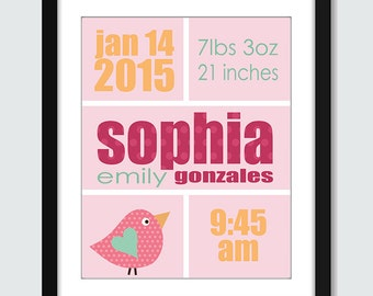 Personalized Birth Announcement Wall Art. Bird Birth Announcement Print. Modern Wall Art. Baby Shower Gift. 8x10 Children Wall Print Poster