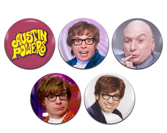 5x Austin Powers Movie Mike Myers 25mm / 1 Inch D Pin Button Badges