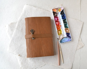 Rustic Brown Leather Journal with Old Key