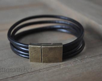 RETRO vintage genuine leather bracelet for men women multi strand link leather magnetic end subtle minimalist  bronze tone clasp black