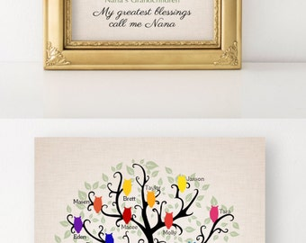 Nana and Papa Gift Grandma Grandchildren Names Family Tree  Christmas Gift Gift for Grandparents  Personalized Keepsake Print