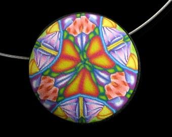 Colorful Mandala Pendant, Polymer Clay Art Jewelry, Wearable Art Jewelry, Kaleidoscope Jewelry, Womens Gift Jewelry, Gift for Girlfriend
