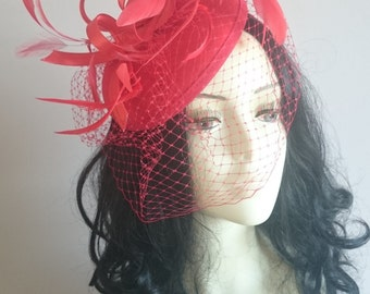 Red Satin Fascinator With Swirls & Feathers- Wedding Races-Ascot-Derby Day