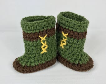 Legend of Zelda boots, baby Link shoes, crochet baby booties, newborn to 9 months, geeky, green brown, halloween