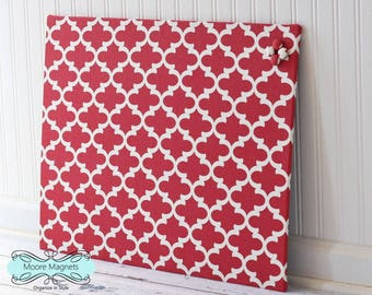 Magnetic Board 18 inch x 24 inch Red and White Moroccan Pattern Fabric - Ready to Ship - Message board  Command Center Office Organization