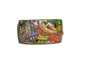 Bangle - Bangle Bracelet - Resin Bangle - Enamel Bangle - Colorful Bangle - Wide Bangle - Resin Bracelet - Wide Bracelet