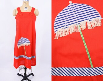 "ANNIVERSARY SALE // 1970s novelty dress   red fringe beach umbrella novelty cover up dress   vintage 70s dress   W 40"""