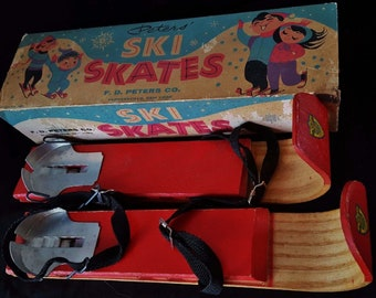 Rare 1928 Peters Ski Skates Kids' Outdoor Snow Skiing Decor Art Toy Collectible Wooden Skis in Original Box