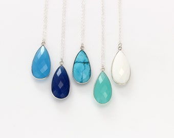 Statement Large Bezel Teardrop Necklace / Blue Turquoise Stone Layering Necklace Gold or Silver Metal Trimmed Druzy Pendant Necklace