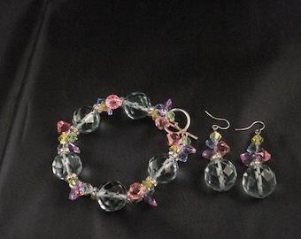 Swarovski Crystal Bracelet And Earrings Set Sterling Silver Bracelet