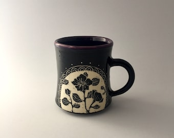 Hand Thrown Floral Carved Pottery Mug