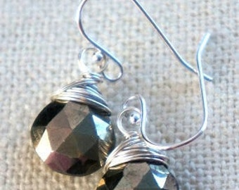 s  t  a  r  l  i  g  h  t...   sterling silver and faceted pyrite earrings