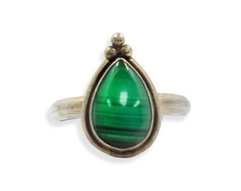 Vintage Genuine MALACHITE RING in Sterling Silver