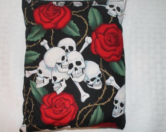 """Heating/Ice Pad 7"""" x 9"""" - Aromatheraphy Herbal Pack - Skulls and Roses"""