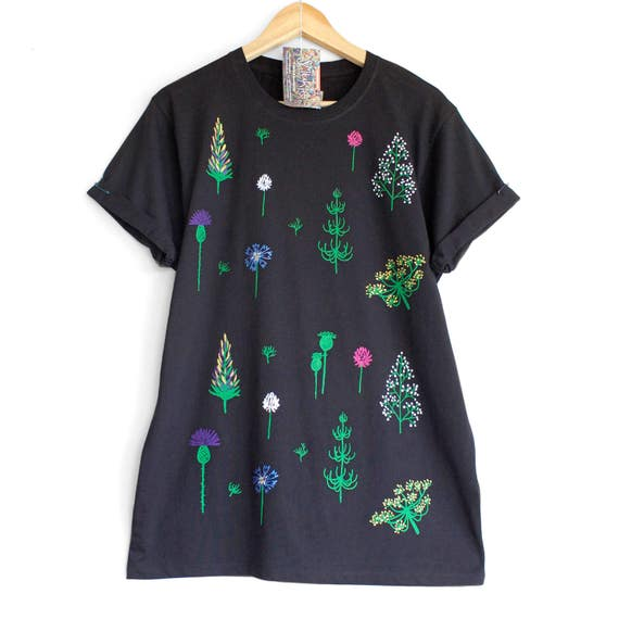 XS M 2XL  SUMMER SOLSTICE t shirt. 100% organic cotton t shirt. Hand painted.  Black floral t-shirt