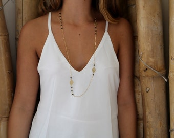Golden Triangle Necklace, Long necklace, Rosary Necklace, Delicate Necklace, Christmas Gift