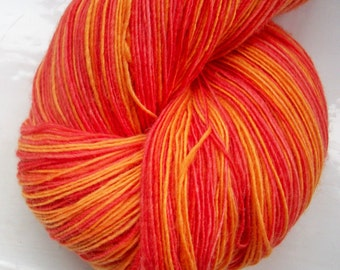 Hand painted yarn, soft merino wool, lace weight  red orange 100g