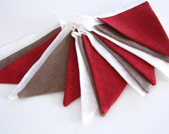 Fabric Flag Banner / Pennant / Bunting / White / Brown / Maroon