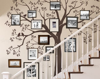 Staircase family Tree Wall Decal Tree Wall Decal Sticker  sc 1 st  Etsy & Items similar to Large Family Tree Wall Decal with birds for picture ...