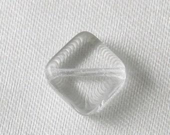 10 pcs - 9mm Czech Glass Flat Diamond Beads Crystal