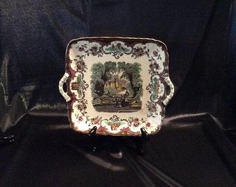 Mason's Ironstone China Victorian cake platter with handles