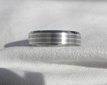 Wedding Band, Titanium Ring with Sterling Silver Pinstripes Beveled