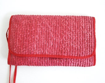 1980s Crimson Red Straw Envelope Purse