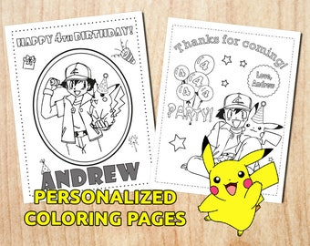 Pokemon Birthday Party Coloring Pages / Pikachu / Pokemon Birthday / Personalized / Printable / Digital PDF
