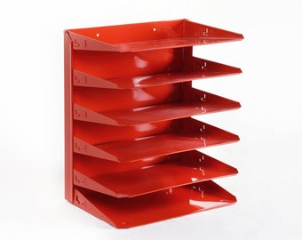 Retro Office Mail File Organizer Refinished in Fire Engine Red / Free U.S. Shipping