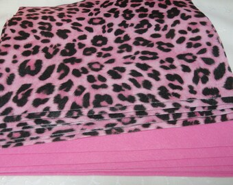 Acrylic Felt Lot, 8 Sheets 9 X 12 Cheetah, 3 Sheets Hot Pink Fiesta Felt 12 X 18, Craft Supplies
