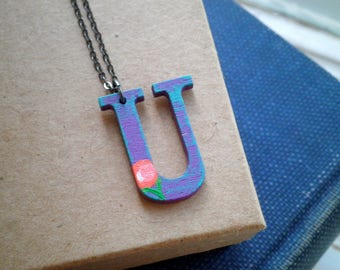 Letter U Wood Initial Charm Necklace - Hand Painted Floral Letter U Pendant - Purple U Personalized Jewelry Gift / Tiny Flower Art Necklace
