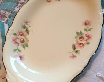 Vintage Small Platter Fluffy Rose Pink Roses Virginia Rose Homer Laughlin Made in The USA