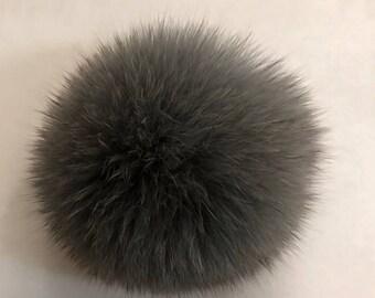 Real Fox Fur Pom Pom Dark Gray Hat Raccoon Pom pom Fox Fur Pom pom Fur Ball