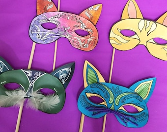 Cat Masks - Full Color  Paper Craft Template - masks for Halloween (or year-round) - Instant Download - Kids Craft Template