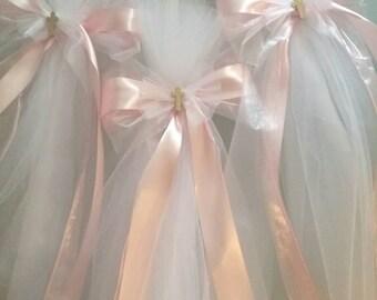 Greek Orthodox Baptism Candle Lambada Christening Pink & White Girl