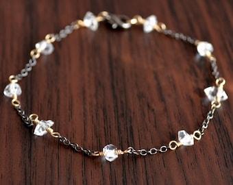 Dainty Herkimer Diamond Bracelet, Gold and Black Gunmetal, Mixed Metals, Clear Quartz Nugget, Gemstone Jewelry