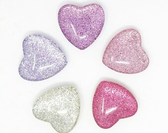 """Glitter Magnets // Set of 5 - 1"""" Heart-shaped Glass Magnets // Pink and Purple // Heart Magnets // Organization // Valentine's Day"""