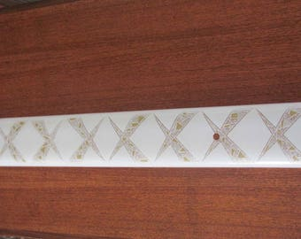 Vintage 60's Atomic Silver and Gold Criss Cross Frosted Glass Wall Light Shade - Extra Long - 60's Lighting - Light Fixture - Vanity Light
