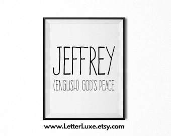 Jeffrey Printable Kids Gift - Name Meaning Art - Baby Shower Gift - Nursery Art - Digital Print - Nursery Decor - Typography Wall Decor