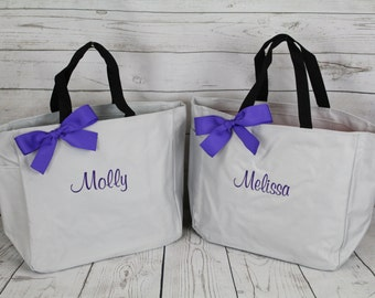 11 Personalized Bridesmaid Tote Bags, Bridesmaid Gift, Personalized Bridesmaid Tote, Wedding Party Gift, Name Tote