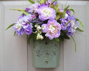 Lavender Floral Wreath, Front Door Decoration, Purple Door Arrangement, Spring Wreaths, Easter Door Decor, Bridal Baby Shower Decor