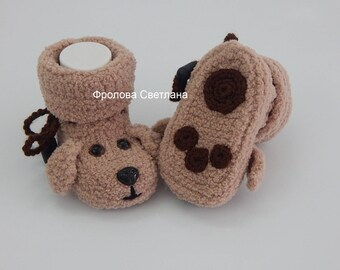 Baby booties , Baby boy, Baby girl, Knitted baby booties, baby booties dog.