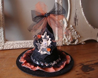Witch hat table decoration halloween glittered black hat vintage style party decor centerpiece kitchen table decor