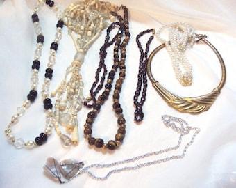 Destash- 8 Necklace lot, Garnets, Faux Pearls,Lucite,Quartz and more