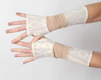 White and beige armwarmers, Jersey and beige lace patchwork fingerless gloves, MALAM, Womens accessories