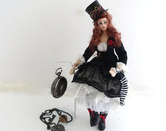 Steampunk doll, Cloth Art Doll, posable doll, Victorian Goth girl, soft sculpture, Night Rose