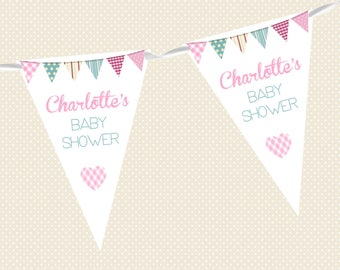 Personalised Baby Shower Bunting - Heart & Bunting Design - Various Colours - Made in UK