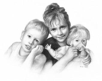 Custom Portrait Drawing, Custom Child Portrait, Personalized Art, Charcoal Portrait Of Children, Portrait From Photo